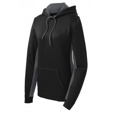 Sport-Tek Ladies Sport-Wick Fleece Colorblock Hooded Pullover